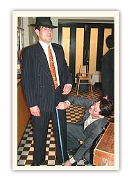 Rob Crossley measuring gangster suit